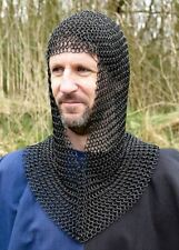 Ancient/Medieval Black Butted Ring V-Shape Chainmail Hood Chain Mail Coif LARP
