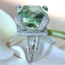 Elegant 925 Silver Prehnite & White Topaz Ring Wedding Engagement Jewelry Size 7