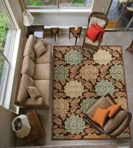 """Nourison Graphic Illusions GIL13 BRN Brown Closeout Area Rug 7'9"""" x 10'10"""" $802"""