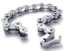 10mm 7.5''  Pure Stainless Steel Bangle Motorcycle Bike Chain Design Bracelet