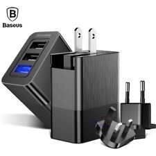 Baseus 3 Port USB Wall Charger US EU UK Plug Travel Adapter 3.4A Max Fast Charge
