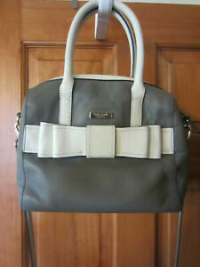 Kate Spade New York bowler leather bag satchel w/strap gray/white bow