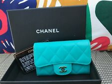 Authentic Chanel Matelasse Lambskin Coin Purse / Aqua Green/Blue
