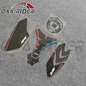 3D Carbon Fiber Fuel Tank Pad Kit Tank Cap Side Sticker Decal For S1000RR HP4