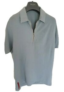 Mens uber chic PRADA zipped short sleeve polo shirt. Size medium. Ex con RRP£325