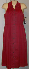 Jessica Howard Dress 10P Red Shirtwaist New with Tags Cotton Lined Sleeveless