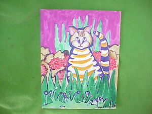 """Original 60s Psychedelic Mod Cat Watercolor/Marker/Colored Pencil on Paper 9""""x11"""