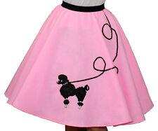 "Pink FELT Poodle Skirt _ Adult Size LARGE _ Waist 35""- 42"" _ Length 25"""