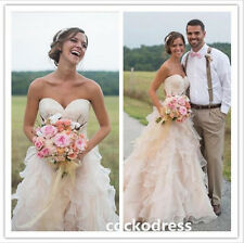 Blush Organza Sweetheart Wedding Dress A Line Sleeveless Country Bridal Gown New