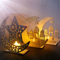 Ramadan Wooden Eid Mubarak Decoration For Home DIY Moon Islam Mosque Muslim BW