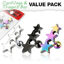 3 Pcs Titanium Anodized Surgical Steel Stars Ear Tragus Cartilage Helix Barbells