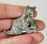 "Vintage Pewter Metal Mother Cat Carrying Kitten Miniature Figurine 1.75"""