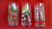 Coca Cola Glasses (3) Collectible Holiday-Norman Rockwell - Santa-Elves-Sleigh