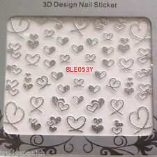 Valentines Nail Art Sticker Decals Transfers SILVER Bling Bows Hearts Lace (53)