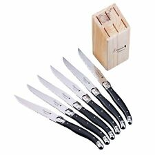 6pcs 9'' Black Laguiole Style Stainless Steel Steak Knives w/ Wooden Base