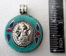 Nice! Tibet Tibetan Silver & Turquoise Ganesh Amulet