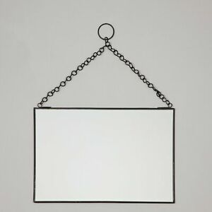 MADAM STOLTZ Hanging Mirror in BLACK (30 x 20cm)
