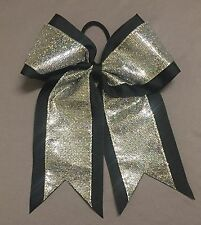 Black Bow with Silver Glitter overlay Cheer/Softball/Volleyball Bow - handmade