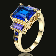 Size 8  Blue Sapphire Crystal Ring Women's 10KT  yellow Gold Filled Wedding Band