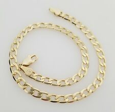Cuban Chain Anklet Bracelet Women 14K Italy Gold Plated