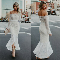 White Formal Wedding Bridesmaid Long Lace Evening Party Prom Gown Cocktail Dress