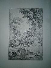 Planche gravure François Boucher pastorale en hauteur d'aprés Watteau