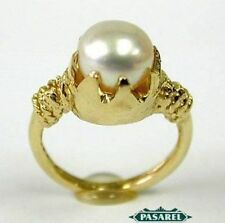 Freshwater Solitaire Yellow Gold 14k Fine Pearl Rings