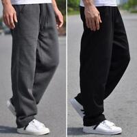 Mens Sweatpants Loose Sport Trousers Tennis Walking Casual Pocket Pants Plus sz