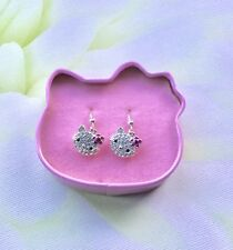Avon Hello Kitty Silver Plated and Diamante Drop Earrings 'Never Worn'