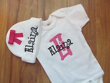 PERSONALIZED MONOGRAM CUSTOM Baby Beanie One Piece Creeper Set White Hot Pink