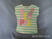 Girls 2-3 Years - Green & White Striped Sleeveless Top - Peppa Pig