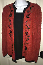 Cathy Daniels Faux Cardigan Sweater Top Red Floral Nubby Sequins Holiday SMALL