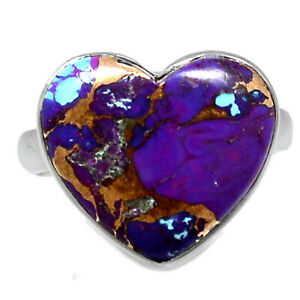 Heart - Copper Purple Turquoise - Arizona 925 Sterling Silver Ring s.8 BR90444