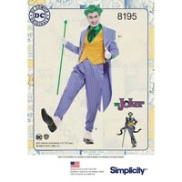 Simplicity PATTERN 8195 Men's D.C.Comics Joker Costume necktie vest jacket Pants