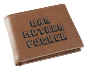 Brown Embroidered Bad Mother Fu**er Leather Wallet As Seen in Pulp Fiction