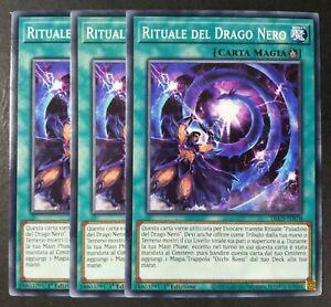 Set 3 Carte : RITUALE DEL DRAGO NERO in Italiano DLCS-IT070 Comune YUGIOH
