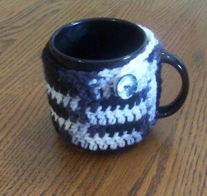 Hand Crochet Black Variegated Coffee Mug Cozy Buttoned