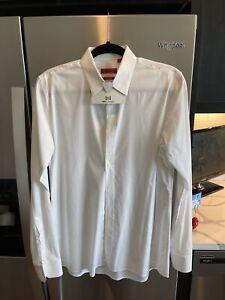 Hugo Boss Men's Slim-Fit White Long-Sleeve Button Dress Shirt Red Label