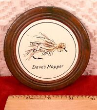 Vintage Fly Fishing Coaster DAVE'S HOPPER Lure Bass Trout More Fishing Theme