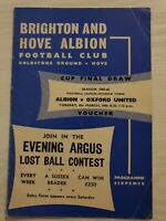 BRIGHTON and Hove Albion v Oxford Utd football programme 1965-66 division 3