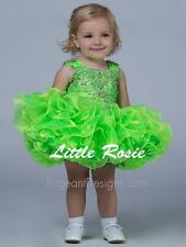 Infant Baby Girls Pageant Dress National Glitz Cupcake Pageant Dress Lime Green