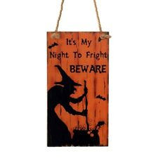 Hanging Witch Wood Plaque Orange Wall Sign Home Outdoor Halloween Party Decor