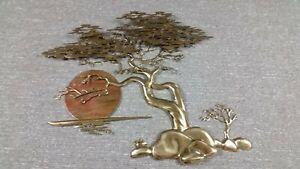 Brass Sculpture by Bijan 1985 Signed Bonsai Brass Tree &  Enamel Sun large!