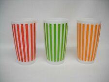 New ListingSet of Three Hazel Atlas Striped Glass Tumblers-Green, Red & Orange-Vg-Nr