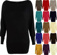 Womens Batwing Basic Long Sleeve Ladies Plain Stretch T-Shirt Top Size UK 8-26