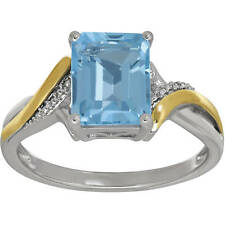 Duet Sterling Silver & 10K Yellow Gold Genuine Blue Topaz 9x7mm Emerald-cut Ring