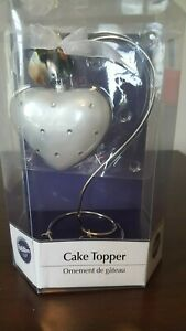 Rhinestone Love Silver/White Heart Wedding Cake Topper 2 hearts. NEW