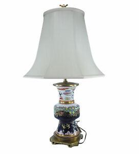 Vintage MAITLAND SMITH Table Lamp ASIAN JAR Hand Painted Floral Porcelain