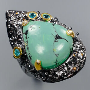 Turquoise Ring Silver 925 Sterling Jewelry Fine Art Size 8 /R141922