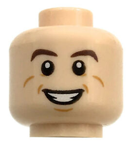 LEGO NEW LIGHT FLESH MINIFIGURE HEAD DUAL SIDED SMILE AND SCARED PATTERN PART